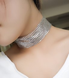 Wholesale Aluminum Chain Necklace - hot sale good quality necklace jewelry fashion aluminum metal collar woman ladies wide luxury glittering choker