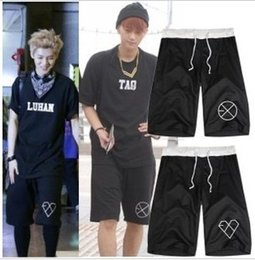 Wholesale Exo Wolf 88 - Wholesale- New arrival EXO exo-k exo-m popular short wolf 88 design half short k pop personalized casual short 16 style for choice