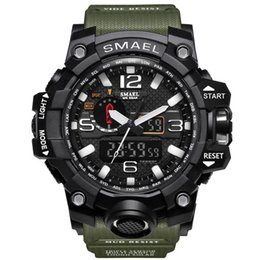 2017 новый цифровой двойной дисплей круглый циферблат большой воды Resistan наручные часы Schoole мужчины Спорт Smael часы Drop доставка от