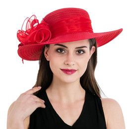 Wholesale pink dress hats - Womens Stylish Flower Fascinators Polyester Wide Brim Floral Kentucky Derby Church Dress Tea Party Hat T236