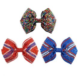 Wholesale Hair Barrette Crystal Handmade - 9 Pcs lot Crystal Hair Bows With Clips For Baby Girls Handmade Bing Rainbow Color Rhinestone Bow Children Boutique Women Charm Accessories