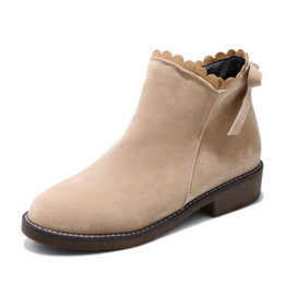 Wholesale Women Wearing Boots - ankle boots ruffles round toe bowknot sweet grind arenaceous side zipper solid winter wear-resisting warm women boots
