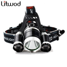 Wholesale Tactical Led Strobe - 3 T6 headlight 9000LM 3x XM-L T6 led Headlight 9000 Lumen led Head Lamp Flashlight Torch Lanterna Headlamp 90 degree night