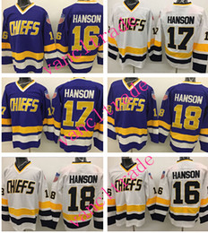 Wholesale Flash Polyester - 2016 Charlestown CHIEFS Men's 16 Jack HANSON Jerseys 17 Steve HAN ICE Hockey Jersey Embroidery Throwback 18 Jeff HANSON CCM Mix Order