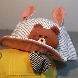 Wholesale Cap Teddy Bear - Spring, summer, the new hot style hat Cute teddy bear children empty hats Baby babies duck tongue soft ear cap