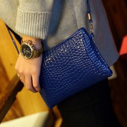 Wholesale Long Chain Handbags - New pure color pu leather handbag embossed zipper crocodile grain change purse Women Fashion female wallet