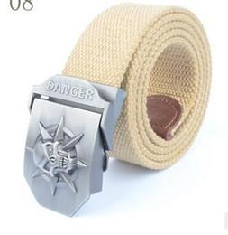 Wholesale Skull Silver Belt Buckle - Automatic belt buckle skull thickening canvas belt wholesale men's casual