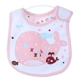 Wholesale Pink Slings - Tide brand infant children bib Bib cotton baby sling slobber towel snap Cartoon color Natural opening Three-dimensional