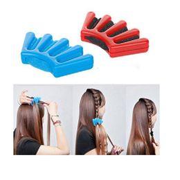 Wholesale Hair Band Hooks - New Women Lady Hair Braiding Tool Braider Roller Hook With Magic Hair Twist Styling Bun Maker Hair Band Accessories free ship