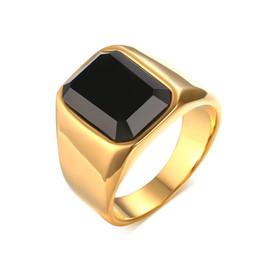 Wholesale Semi Precious Silver Rings - Vintage Agate Ring For Men Semi-precious Stone Jewelry Titanium Steel Bague Gold Color Trendy Jewelry