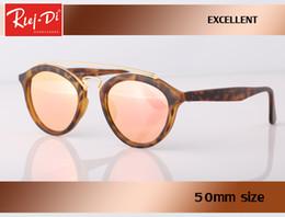 Wholesale Vintage Round Sunglasses Gold - Rlei di new Great Quality glass lens Sunglasses Round Vintage Steampunk Glasses Men Women Gold Double Bridge lentes de sol hombre oval gafas