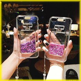 Wholesale Wholesale Fashion Perfume Bottle - Luxury Flowing Sand Shell For Iphone 7 Iphone 6s Transparent All-Inclusive Flow Sand Perfume Bottle Lanyard Fashion Lanyard Phone Case Via D