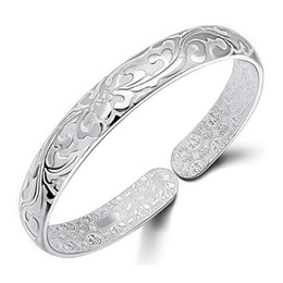 Wholesale Flower Words - 925 Sterling Silver Bangle Bracelet Chinese Style Women Bangles Chinese Word Flower Bradelets Bohemian Jewelry High Quality