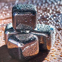 Wholesale Stainless Steel Whiskey Stones - Ice Cube Whiskey Wine Beer Stones Ice Cooler Stainless Steel Coolers Stone Rock Edible Alcohol Drinks Cooled Metal Bar Chilling Summer