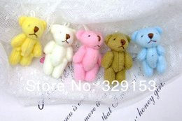 Wholesale Teddy Flowers Gift - Wholesale- H-3.5cm 6color lovely Mini Stuffed Jointed Bear Gift Flower Packing Teddy Bear 100pcs lot