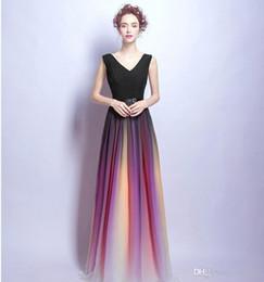 Wholesale Good Quality Prom Dresses - Robe de soiree Good quality Gradient color Evening dresses 2017 v-nekline Formal Evening Dresses Burgundy color Evening Party Pageant Gowns