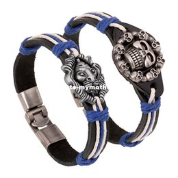 Wholesale Lionhead Chains - Handmade Mixed batch alloy jewelry braided retro leather bracelet skull Lionhead new Charm bracelet Bangles lovers GIfts