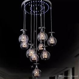 araña de cristal de vino led Rebajas Modern Clear Clear Glass Glass Lámpara Colgante K9 Cristal Salón Restaurante Araña de Luz Lámpara de Suspensión Colgante con Luz Azul