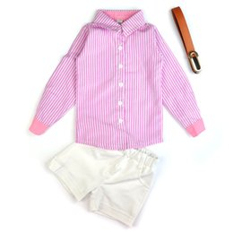 Wholesale cute blouses - New Baby Kids Girls Clothes Two Piece Cute Striped Shirt Solid Shorts Outfits Set Blouse Casual Suits Kid Child Clothing Set