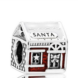 Wholesale Hobby Home - S925 Sterling Silver Santas Home Charm Bead with Red Enamel Fit European Pandora Jewelry Bracelet Necklaces & Pendant