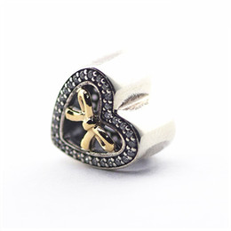 Wholesale Bracelet Binding - 14K Gold Plated Bound By Love Bow Heart Charms Beads 925 Sterling Silver Pave AAA CZ Bowknot Beads For Women Bracelets DIY Jewelry Making