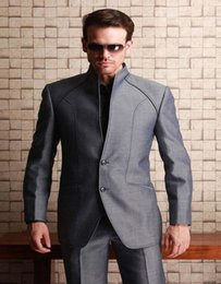 Wholesale Western Wedding Suits For Men - Wholesale- 2017 Western Styles Shiny Grey For Wedding Waistcoats Best Man Bridegroom Party Prom Suits With High Neck (Jacket+Pants)