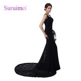 Wholesale Long Black Backless Chiffon Dress - Women Evening Dress Vestido Longo De Festa Para Casamento 2017 Black Chiffon Long Backless Prom Dresses