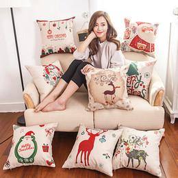 Cuscini per cuscini Cuscino stampato Buon Natale Divano per ufficio Sedia Tessili per la casa Federa senza federe Cuore regalo natalizio da