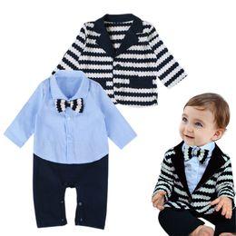 Wholesale Shirts For Boys Jacket - Baby boys Gentlemen Romper 2pc set striped suit jacket bow shirt romper infants outfits clothes for 1-3T