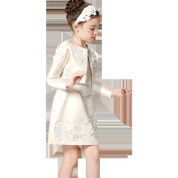 Wholesale Girls Leopard Dress Coat - 2017 new a Foreign trade network children's wear high quality girls champagne coat dress two pieces