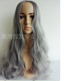 Wholesale Sexy Gray Wigs - 2015 New smoke gray wig Synthetic long Curly hair 70cm sexy women's cosplay party wig free shipping