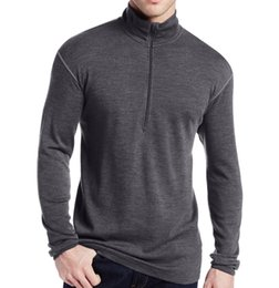 Wholesale Clothing Out Door - Wholesale- 2016 new Brand 100% Pure Fine Merino Wool Men Mid weight 1 4 Zip Out door Base Layer Warm Thermal Long Sleeve Clothes Shirt Tops