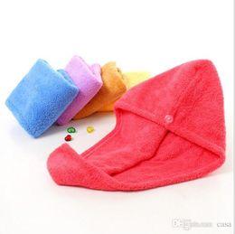 Wholesale Shower Towel Microfiber - 100Pcs Magic Quick Dry Hair Shower Caps Microfiber Towel Drying Turban Wrap Hat Caps Spa Bathing
