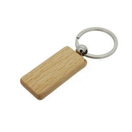 Wholesale Personalized Car Key Chain Ring - Custom Personalized Key Chain Wooden Rectangle Key ring 2.25''*1.25'' KW01C Drop Shipping