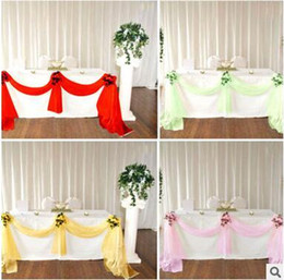 Wholesale Banquet Table Skirts Wholesale - Wedding Table Skirt Decro Lace Ribbon 135*500cm Wedding Party Banquet Decro High Quality Bow Party Supplies 14 Color Free Shipping