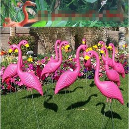 Wholesale Garden Cement - Artificial Flamingo Sculpture Garden Courtyard Scenery Decorations Plastic Cement Arts and Crafts Wedding Party Accessories CCA7691 50pcs