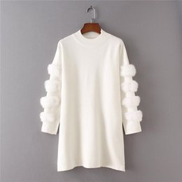 Wholesale Girls Knitted Pullover Sweater - Women Sweater Ladies Sexy Fur Sleeve Crop Knitted Pullover 2018 Spring Girls Long Tshirt Putover Female Jumper Top Femme W209