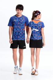 Li Ning Bádminton Jersey 2016 Hombres Mujeres Tenis Use Tenis de secado rápido de la camiseta Conjuntos Cortos Para Pareja Vestido de Mujer Caliente Envío Gratis desde fabricantes