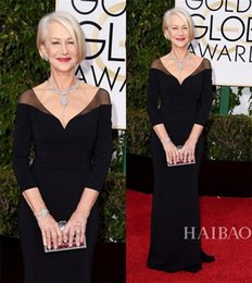 Wholesale Golden Yellow Formal Dress - 73rd Golden Globe Awards Celebrity Dresses Helen Mirren in Long Sleeves Black long formal Red Carpet Evening Prom Party Gowns Custom 2016