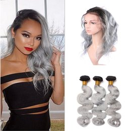 Wholesale Weave Front Closure - #1B Grey 360 Lace Front Closure With Bundles Brazilian Sliver Grey Ombre Human Hair Wefts With 360 Band Lace Frontal Closure Body Wave