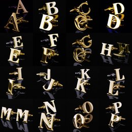 Wholesale Men Cufflinks Letters - 26 English Letters A-Z Cufflinks Mens Cuff Links Gold Silver Color French Shirt Men Jewelry Cufflinks Name Initial Cuff Buttons