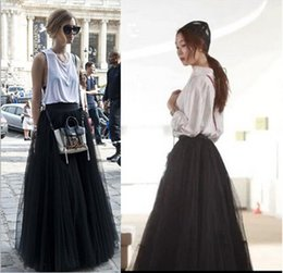 Wholesale long tutus for adults - Fashion Black Tulle Women Skirts High Waist Floor Length Fluffy Tutu Adult Skirts Custom Made Long Skirts For Women Free Shipping