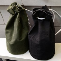 Wholesale Vintage Style Large Canvas Backpack - Wholesale- Ulrica 2017 New Large Capacity Women Man Drawstring Backpack Canvas Bucket Bag High Quality One Shoulder Concise Bags Wholesale