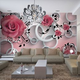 Wholesale Modern Salon Spa - Romantic Red Rose Dancing on Brick Wallpaper 3D Wall Mural Rolls Hotel Livingroom Cafe Office Bedroom TV SPA Salon Backdrop