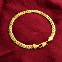 Wholesale Gold Chain 5mm - Fashion 18K Gold Plated Bracelets Jewelry Women Men Flat Curb Snake Chain Bracelets Good Gift 5mm 8in