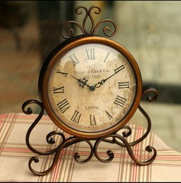 Wholesale Wrought Iron Clock Antique - Wholesale-Europe Type Clock Restoring Ancient Ways Frame Wrought Iron Table Clock Creative Home Bell Bedroom Classic Wall Clock Adornment