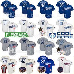 Wholesale Los Dodgers - Custom Los Angeles Dodgers 22 Clayton Kershaw Bellinger Baseball Jersey Gonzalez Seager Pederson Puig Piazza Valenzuela Stitched jerseys