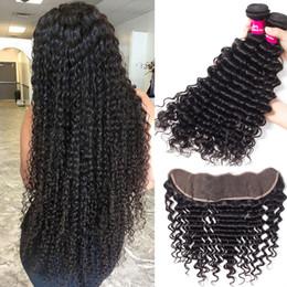 chiusura dei fasci di capelli Sconti Brasiliano Deep Wave Wet And Way 3 Bundles con chiusura frontale in pizzo 13x4 Brasiliano peruviano Malaysian Indian Hair Bundles con chiusura