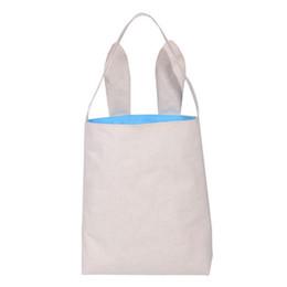 Wholesale Jute Handbags - New 10styles Cotton Linen Easter Bunny Ears Basket Bag For Easter Gift Packing Easter Handbag For Child Fine Festival Gift 255*305*100mm
