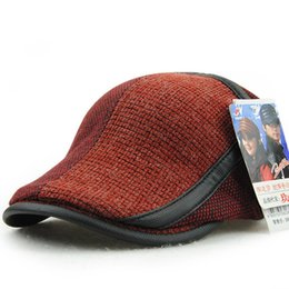 Wholesale Wholesale Male Winter Hats - Wholesale-Male Gift Top Quality Wool Knitting Peaked Cap Man Outdoors Fashion Newsboy Hats Autumn And Winter Knitting Patch Ivy Beret Caps